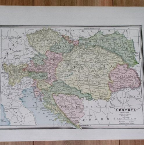 1890 ANTIQUE MAP OF AUSTRIA