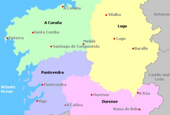Map of Galicia Spain